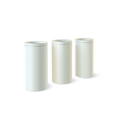 Set of round tins of packaging for bulk products vector