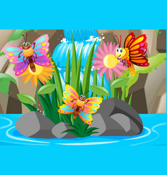 Three colorful butterflies at waterfall vector
