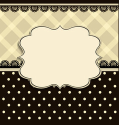 vintage frame with a textile pattern vector image vector image