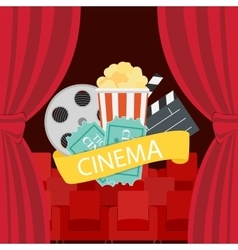 Abstract cinema flat background with reel old vector