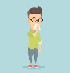 adult caucasian sick man sneezing vector image