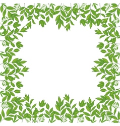 Background frame of green leaves vector