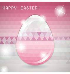 Easter egg pink crystall triangle greeting card vector