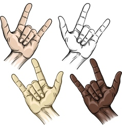 Unity and horns gesture vector
