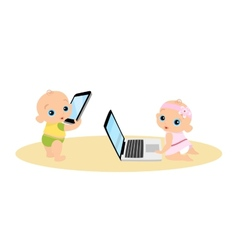 Little girl and boy are playing with laptop and vector