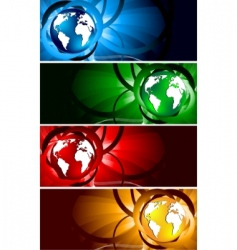Vector bright banners with globe vector