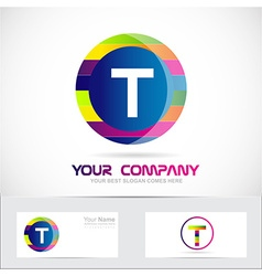 Letter t colors logo vector