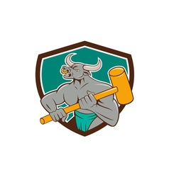 Minotaur Wielding Sledgehammer Shield Cartoon vector image