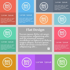 Big sale icon sign set of multicolored buttons vector
