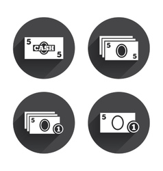 Cash money signs currency with coins icons vector