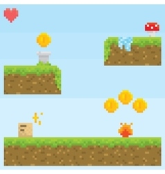 Pixel art style retro game level asset vector