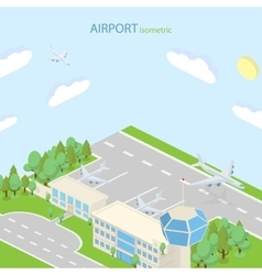 Isometric airport with plans terminal and public vector