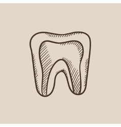Molar tooth sketch icon vector