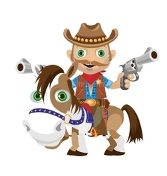 Cowboy rider with guns on a horse vector