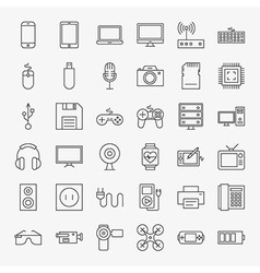 Gadgets and devices line art design icons big set vector