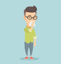 adult caucasian sick man sneezing vector image