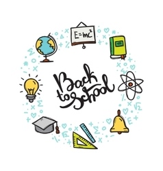 Back to School doodle style circle frame vector image vector image