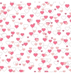Bright pink red hearts seamless pattern on white vector image