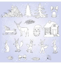 Christmas in forest set vector