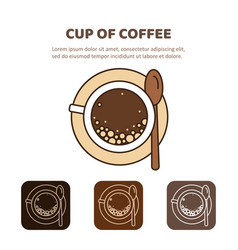 Coffee cup icon linear view from above vector