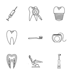 Dentistry icons set outline style vector