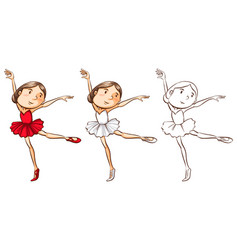 Doodle character for girl doing ballet vector