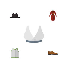 Flat icon garment set of male footware panama vector