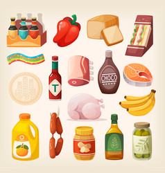 food products icons vector image vector image