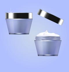 Jars with cosmetic moisturizer perfumery vector