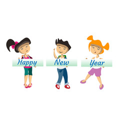 kids with banner happy new year vector image vector image