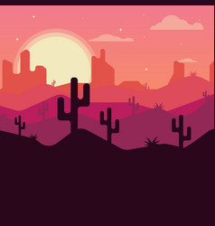 Landscape design of the desert with cacti vector