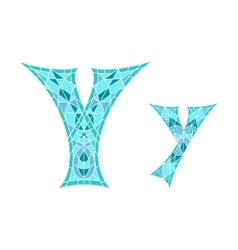 Low poly letter y in blue mosaic polygon vector
