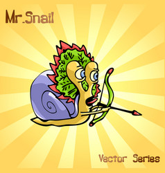 Mr snail with indian vector