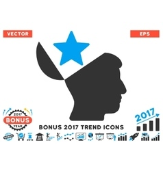 Open head star flat icon with 2017 bonus trend vector