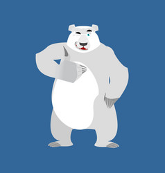 Polar bear winks emoji wild animal arctic and vector