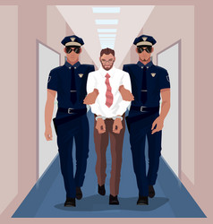 police officers arrested businessman at office vector image vector image