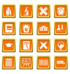 school icons set orange vector image vector image