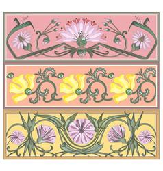 set of art nouveau borders vector image