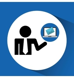 Silhouette man with email laptop online vector