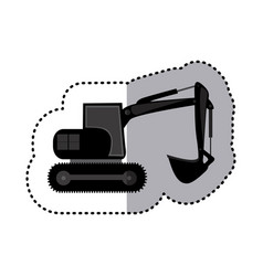 Sticker monochrome backhoe with crane for vector