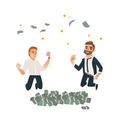 successful businessmen jumping under money vector image