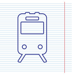 Train sign navy line icon on notebook vector