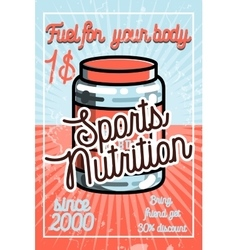 Vintage sports nutrition poster vector