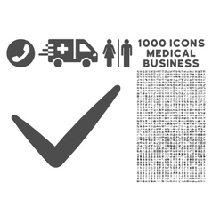 Valid icon with 1000 medical business pictograms vector