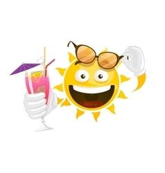 summer cartoon smiley sun vector image