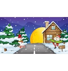 santa clause and snowman vector image