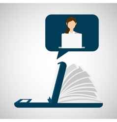 Online learning laptop education vector