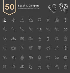 Camping and beach thin icon set vector