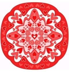 Red abstract zentangle heart mandala vector