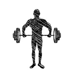 Silhouette drawing muscle man lifting a disc vector